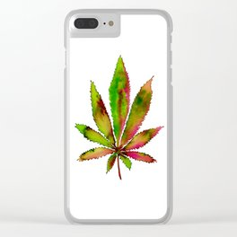 Watercolor Weed Leaf Clear iPhone Case