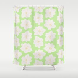 Watercolor Magnolias in Key Lime Shower Curtain