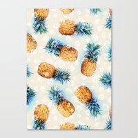 crystals Canvas Prints featuring Pineapples + Crystals  by micklyn
