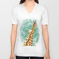 giraffes V-neck T-shirts featuring giraffes by Isabel Sobregrau