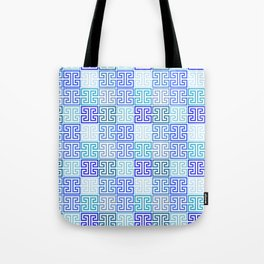 Greek Keys in Monochrome Blue Multi Tote Bag