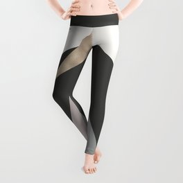 Abstract geometrical faux gold black gray triangles pattern Leggings