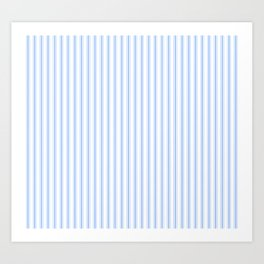 Mattress Ticking Narrow Striped Pattern in Pale Blue and White Art Print
