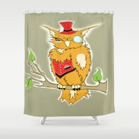 steam punk Shower Curtains featuring Steam Punk Owl by J&C Creations