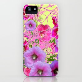 CONTEMPORARY PINK & LILAC HOLLYHOCKS ART iPhone Case