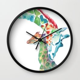 Mummy and Baby Giraffe College Dorm Decor Wall Clock