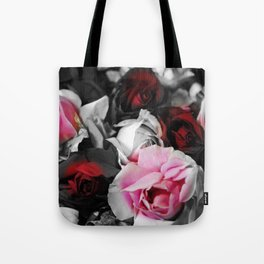 Black and White Roses Fade to Pink and Red Tote Bag
