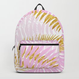 Aloha- Pink Tropical Palm Leaves and Gold Metal Foil Leaf Garden Backpack
