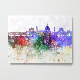 Florence skyline in watercolor background Metal Print