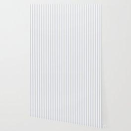 Classic Blue Baseball Stripe Lines On White Wallpaper