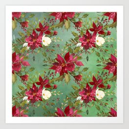 Burgundy red forest green white watercolor Christmas flowers Art Print