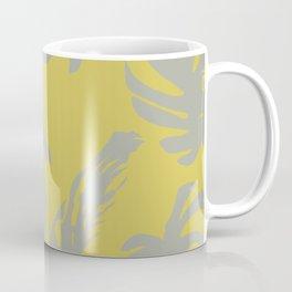 Palm Leaves Retro Gray on Mod Yellow Coffee Mug