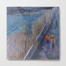 Hermosa Beach Rain Metal Print