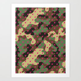 CAMO & HOT PINK BOMB DIGGITYS ALL OVER LARGE Art Print