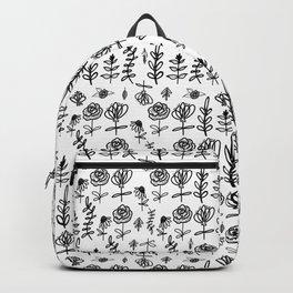 Black and White Folk Floral Backpack
