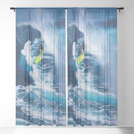 Tropical Beach Wave Summer Ocean Surfing Sheer Curtain