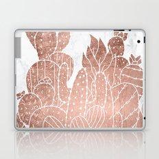 Modern faux rose gold cactus hand drawn pattern illustration white marble Laptop & iPad Skin