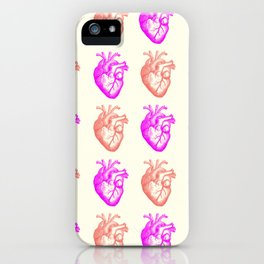 Anatomical hearts print (coral & violet) iPhone Case