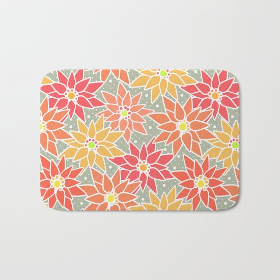 Poinsettia. Retro. Bath Mat