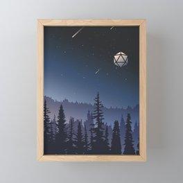 Falling Stars Full Moon D20 Dice Tabletop RPG Landscape Framed Mini Art Print