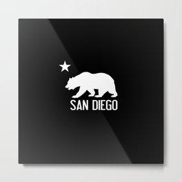 San Diego and California Bear Metal Print