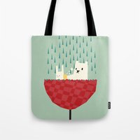bath Tote Bags featuring umbrella bath time! by Yetiland