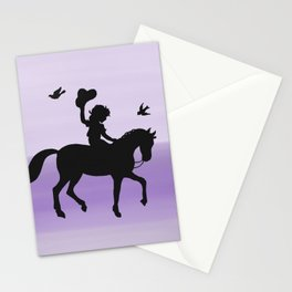 Girl and horse silhouette lavender Stationery Cards