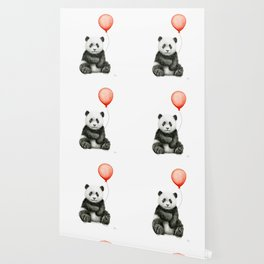 Baby Panda and Red Balloon Wallpaper
