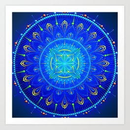 Blue mandala painting on canvas Art Print