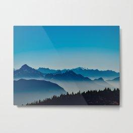 Rise above the mist. Blue Metal Print