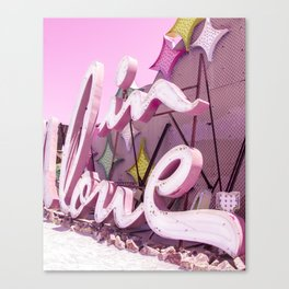 "Pink ""In Love"" Sign at the Neon Museum in Las Vegas, Nevada Canvas Print"