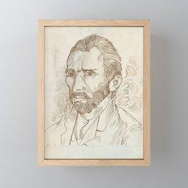 Hand drawn vector portrait.Vincent Van Gogh Framed Mini Art Print