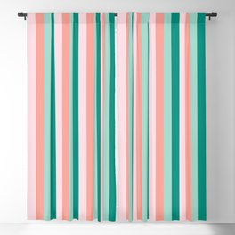 Soft Pink , Peach Amber, Yucca and Arbor Green Pinstripes Blackout Curtain
