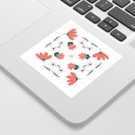 Morning Flowers // Folk Art Pastel Pink Flowers on a white background Sticker