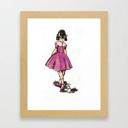 Pink Scissor Girl Framed Art Print
