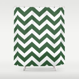 Hunter green - green color - Zigzag Chevron Pattern Shower Curtain