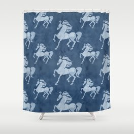 Blue Horses Pattern II Shower Curtain