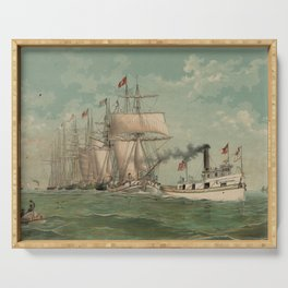 Vintage Fishing Fleet Painting (1882) Serving Tray
