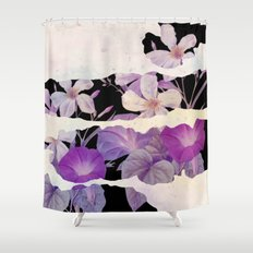 floral on torn paper Shower Curtain
