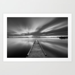 Jetty on a lake in black and white Art Print