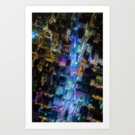 Aerial Times Square - New York City Landscape Painting by Jeanpaul Ferro Art Print