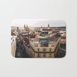Prague Cityscape at sunset Bath Mat