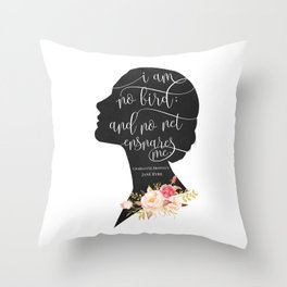 I am no Bird - Charlotte Bronte's Jane Eyre Throw Pillow
