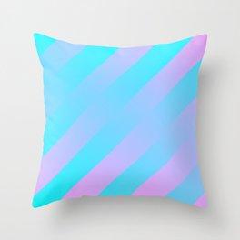 Stripes Diagonal Gradient Aqua & Pink Throw Pillow