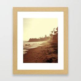 Vintage Retro Sepia Toned Coastal Beach Print Framed Art Print