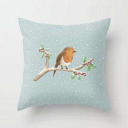 Robin on Branch Throw Pillow