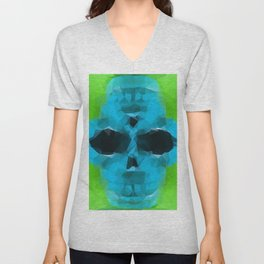 psychedelic skull art geometric triangle abstract pattern in blue and green Unisex V-Neck
