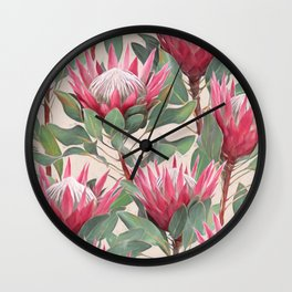 Painted King Proteas on cream Wall Clock