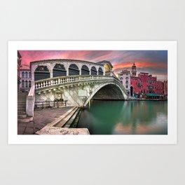 Historic Ponte De Rialto Bridge Grand Canal Venice Italy Europe At Romantic Sunset Ultra HD Art Print