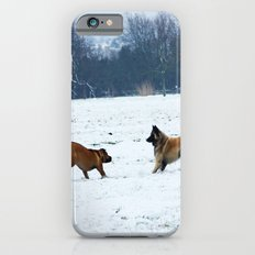 Lets play - Dogs in the snow iPhone 6s Slim Case